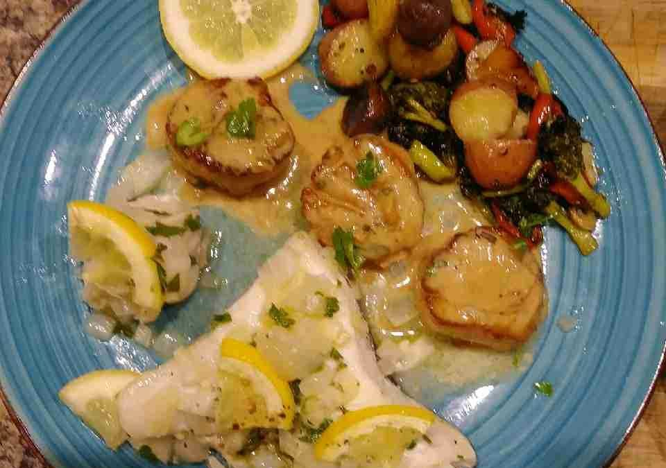 Baked Monkfish and Halibut